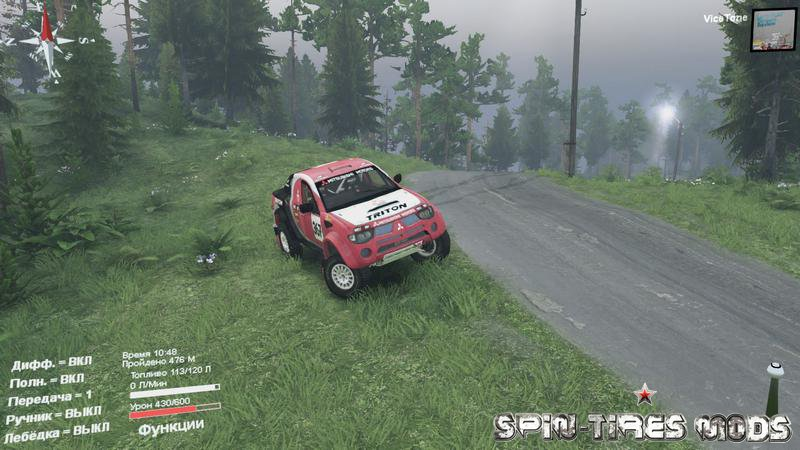 Мод на пикап Mitsubishi l200 Triton для Spin Tires 2015 (SpinTires, Спин Тирес)